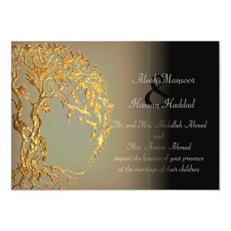 "Mehndi Tree of Life (Gold) 5"" X 7"" Invitation Card"