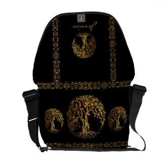 Mehndi Tree of Life (Gold) Messenger Bag