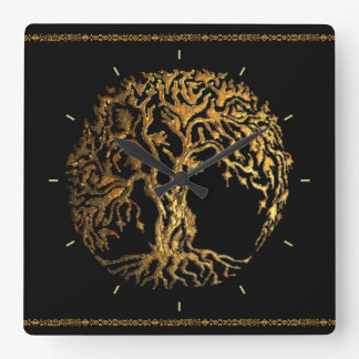 Mehndi Tree of Life (Gold) Square Wall Clock