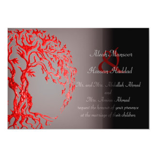 Mehndi Tree of Life (Henna) (Red) 13 Cm X 18 Cm Invitation Card