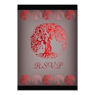 Mehndi Tree of Life (Henna) (Red) 9 Cm X 13 Cm Invitation Card