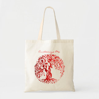 Mehndi Tree of Life (Henna) (Red) Budget Tote Bag