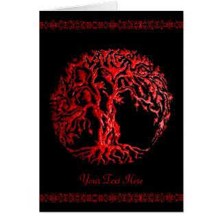 Mehndi Tree of Life (Henna) (Red) Greeting Card