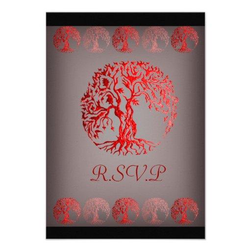 Mehndi Tree of Life (Henna) (Red) Custom Invite