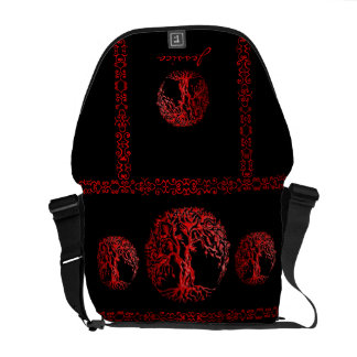 Mehndi Tree of Life (Henna) (Red) Messenger Bags