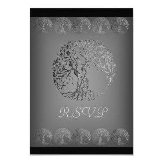 Mehndi Tree of Life (Henna) (Silver) 9 Cm X 13 Cm Invitation Card