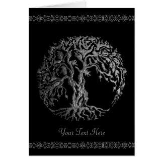 Mehndi Tree of Life (Henna) (Silver) Greeting Card