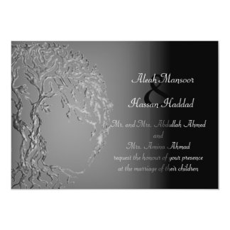 "Mehndi Tree of Life (Henna) (Silver) 5"" X 7"" Invitation Card"