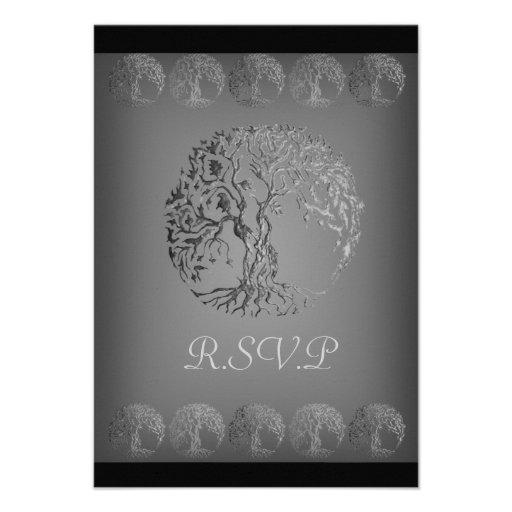 Mehndi Tree of Life (Henna) (Silver) Personalized Invitations