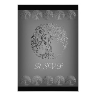"Mehndi Tree of Life (Henna) (Silver) 3.5"" X 5"" Invitation Card"