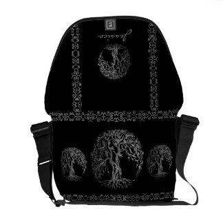 Mehndi Tree of Life (Henna) (Silver) Courier Bag
