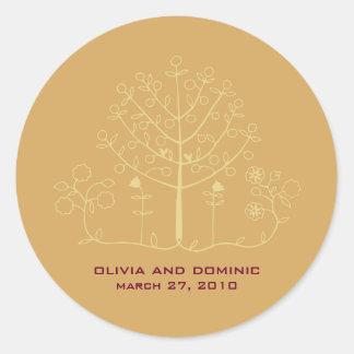 mehndi tree wedding label seal round sticker