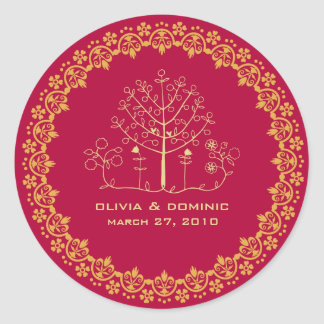 mehndi tree wedding label seal round sticker