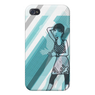 mei in blue case for the iPhone 4