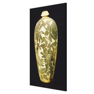 Mei P'ing vase with a black floral decoration Gallery Wrap Canvas