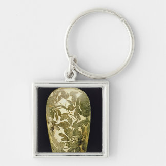 Mei P'ing vase with a black floral decoration Silver-Colored Square Key Ring