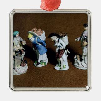 Meissen figures:saddler,goat seller Silver-Colored square decoration
