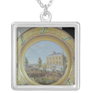 Meissen plate, decorated with a scene of silver plated necklace