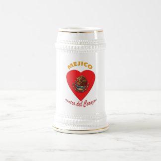 Méjico dentro del Corazón Beer Mugs