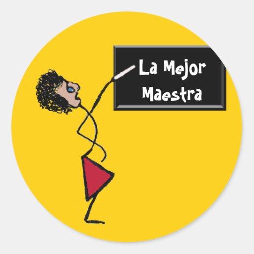 Mejor Maestra Round Sticker