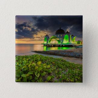 Melaka During Sunset   Masjid Selat 15 Cm Square Badge