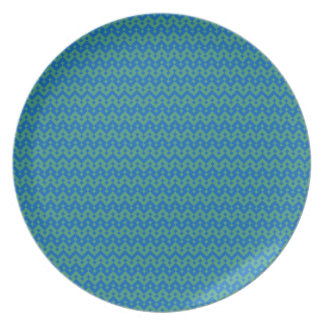 Melamine Dinner Plate, Emerald and Blue Geometric Plate