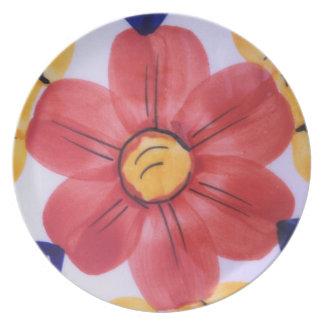 Melamine hand painted flower plate