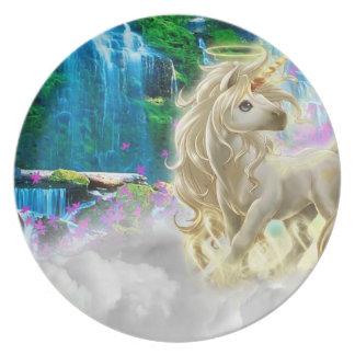 Melamine Plate golden unicorn fantasy