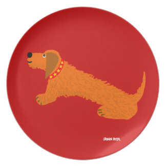 Melamine Plate: John Dyer Sausage Dog Red Plates