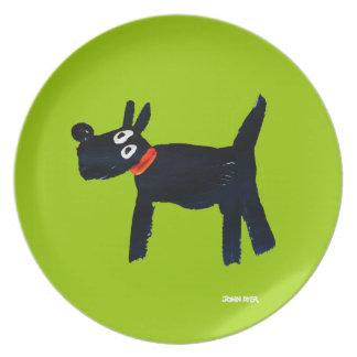 Melamine Plate: John Dyer Scotty Dog Green