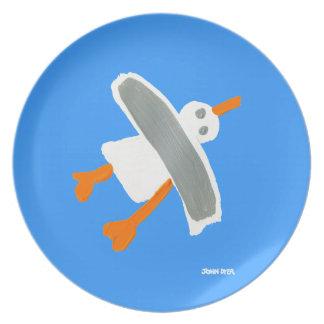 Melamine Plate: John Dyer Seagull Blue Dinner Plates