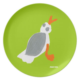 Melamine Plate: John Dyer Seagull Green Plate