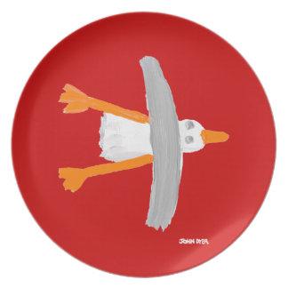 Melamine Plate: John Dyer Seagull Red Plate