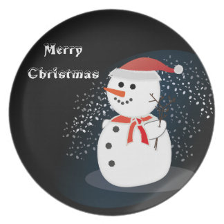 melamine plate Merry Christmas  rustic snowman