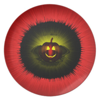 Melamine Plate red halloween by highsaltire