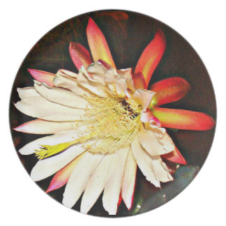 "Melamine Plate ""White Cactus Flower in Black """