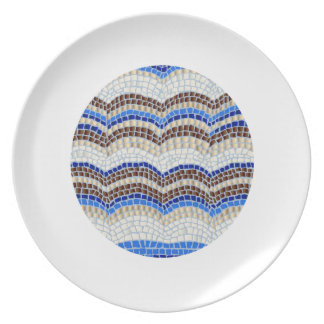 Melamine plate with blue mosaic
