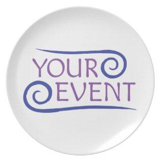 Melamine Plate with Custom Event Logo Promotional