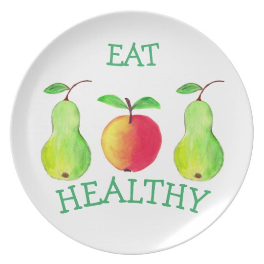 Melamine Plate with Watercolor Painting Fruits