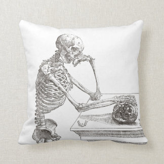 Melancholic Skeleton Throw Cushion