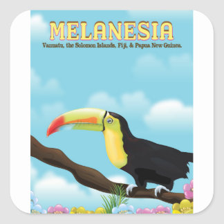 Melanesia Toucan travel poster Square Sticker