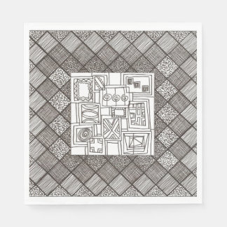 Melange-Abstract Geometric Doodle Pattern Disposable Napkin