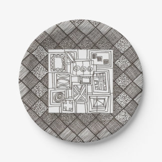 Melange-Abstract Geometric Doodle Pattern Paper Plate