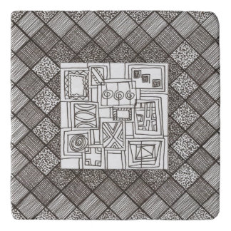 Melange-Abstract Geometric Doodle Pattern Trivet