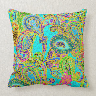 Melange Paisley in Turquoise and Sherbet Green Cushion