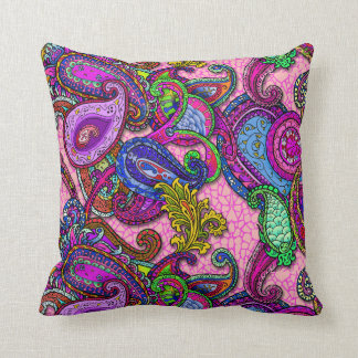 Melange Paisley with pink Cushion