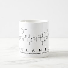 Mug featuring the name Melanie spelled out in the single letter amino acid code