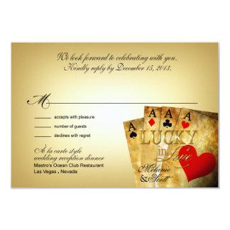 Melanie & Scott Las Vegas All In RSVP 5x3.5 9 Cm X 13 Cm Invitation Card
