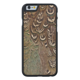 Melanistic Pheasant Feather Detail Carved Maple iPhone 6 Case