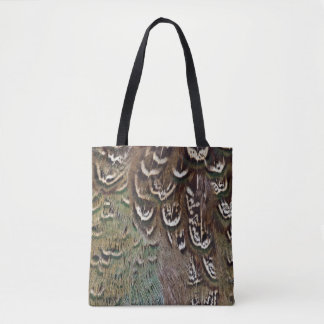 Melanistic Pheasant Feather Detail Tote Bag